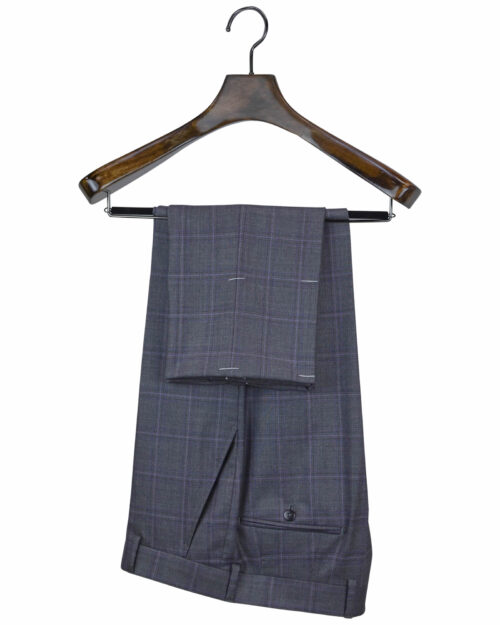 Hand-crafted Gray Blue Purple Plaid Suits
