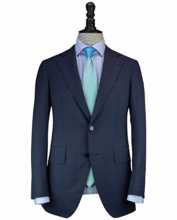 Handcrafted Navy Blue Exclusive 14 Micron Fabrics Plaid Suits