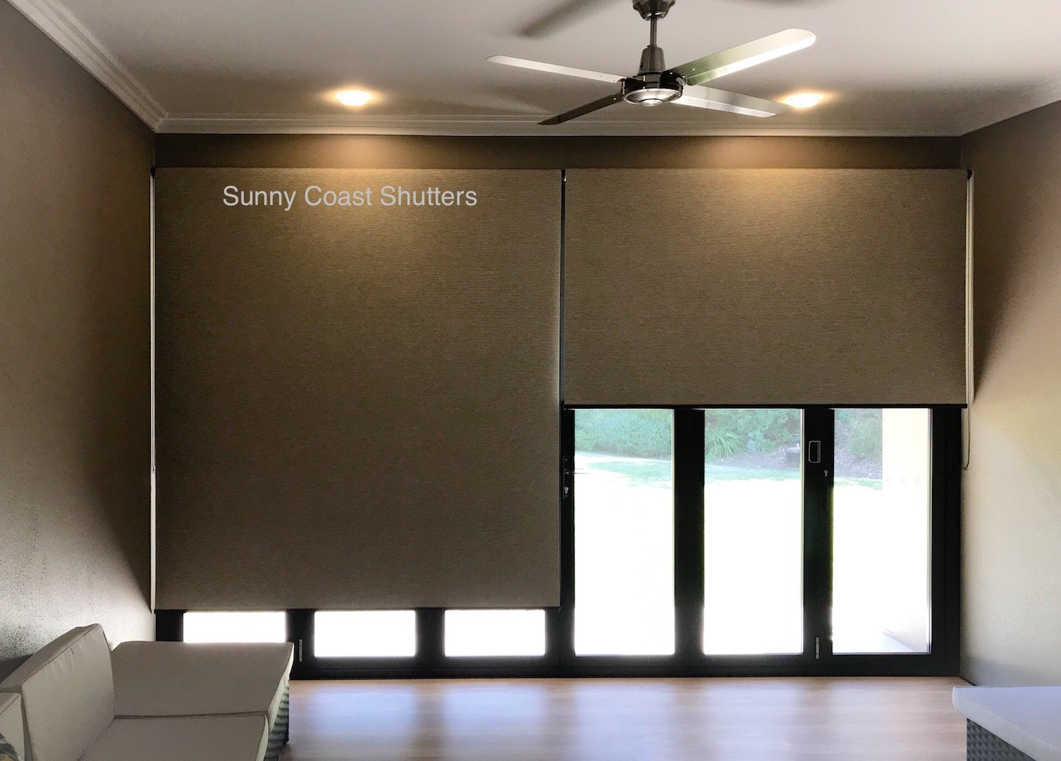 Block out roller blind interior side by side 1 half down