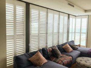 plantation shutters full height white hinged