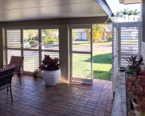 plantation shutters outdoor white fixed