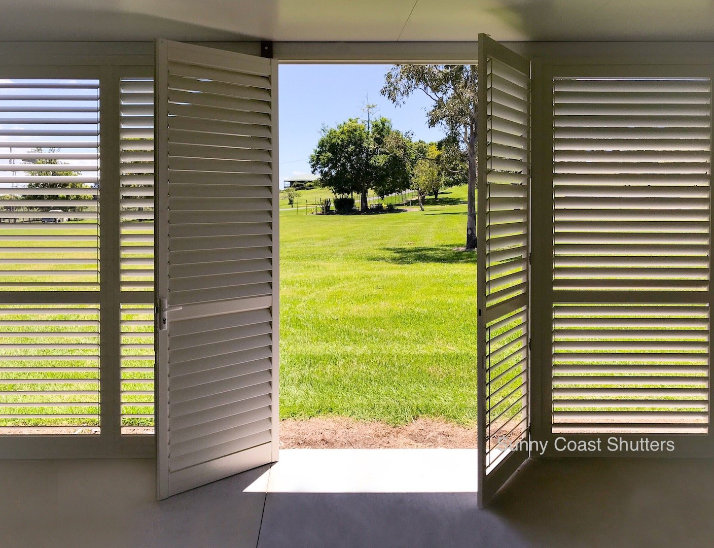 white hinged shutter outdoor & indoor