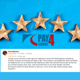 Image showing a 5 star google review of Pay4Freight