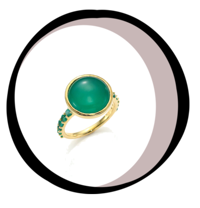 Green Onyx and emerald Ring