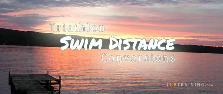 Swim distance conversions for common triathlon races