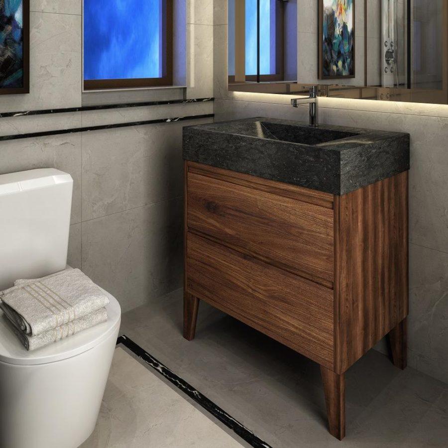 30 Stone And Walnut Hardwood Bathroom, Hardwood Bathroom Vanity