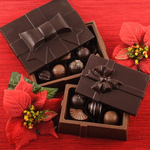 Chocolate Christmas Box filled with Truffles & Chocolates