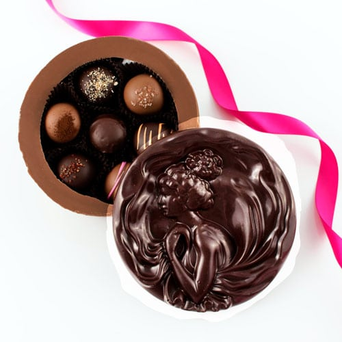 Chocolate Cameo Box filled with chocolates