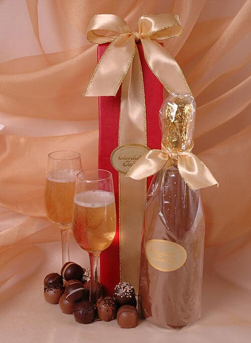 chocolate wine bottle filled with truffles