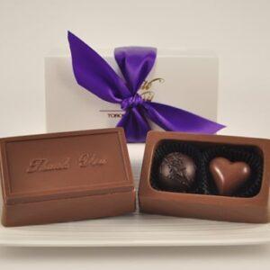 Small Chocolate Thank You Box w/2 Truffles