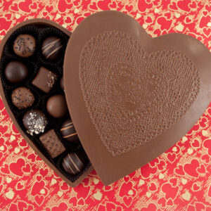 Chocolate Lacey Heart Box filled with handcrafted Chocolates
