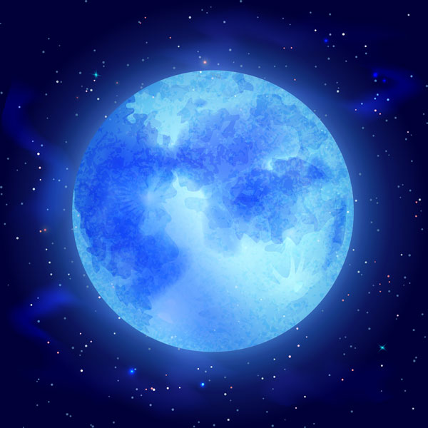full moon with stars