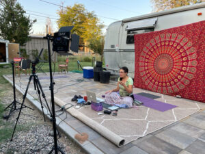 set for teaching yoga outdoors on Zoom.