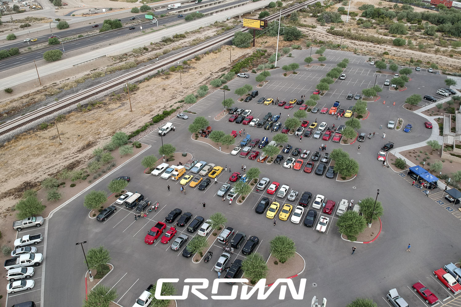 Overview of cars and coffee and clubs at topgolf tucson