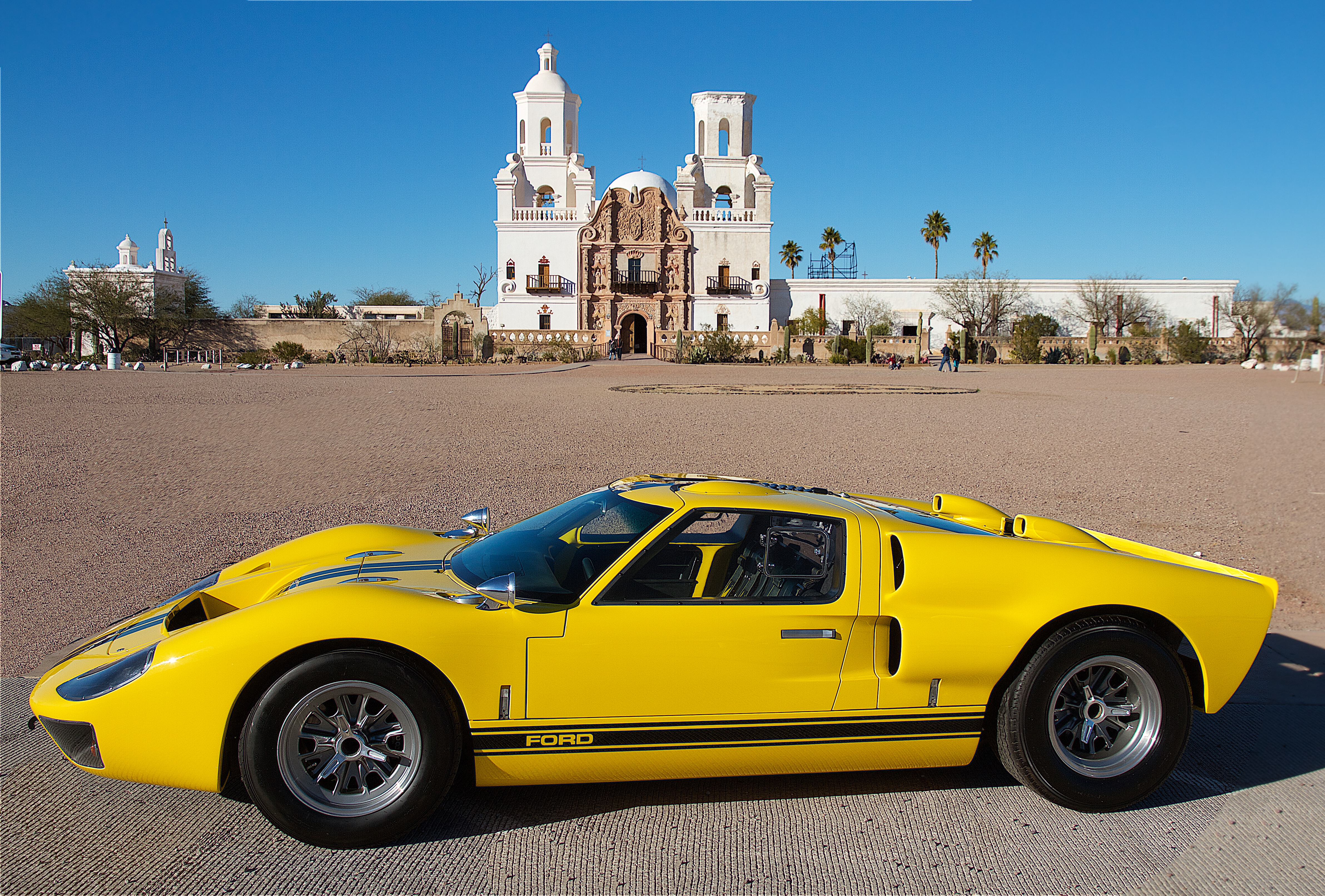 yellow and black superformance gt40 at san Xavier mission tucson