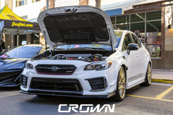 a white Subaru STI s209 at future collector car show in Phoenix arizona