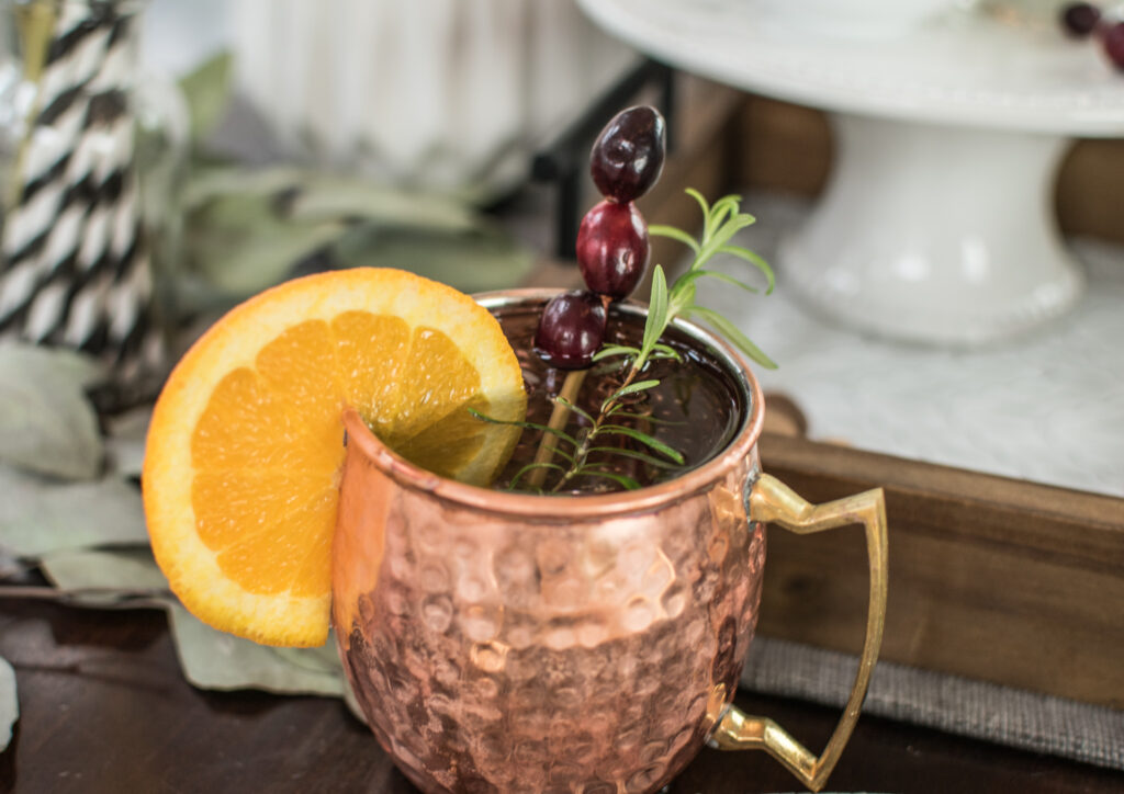 cranberry orange christmas holiday moscow mule recipe