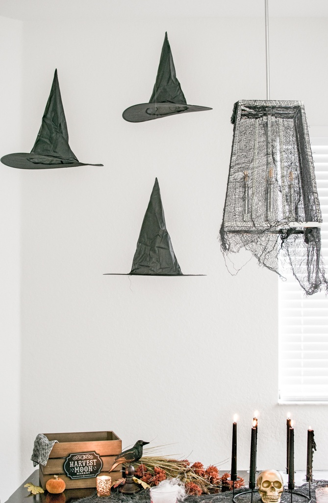 magical floating hats decocrated halloween tablescape easy decor
