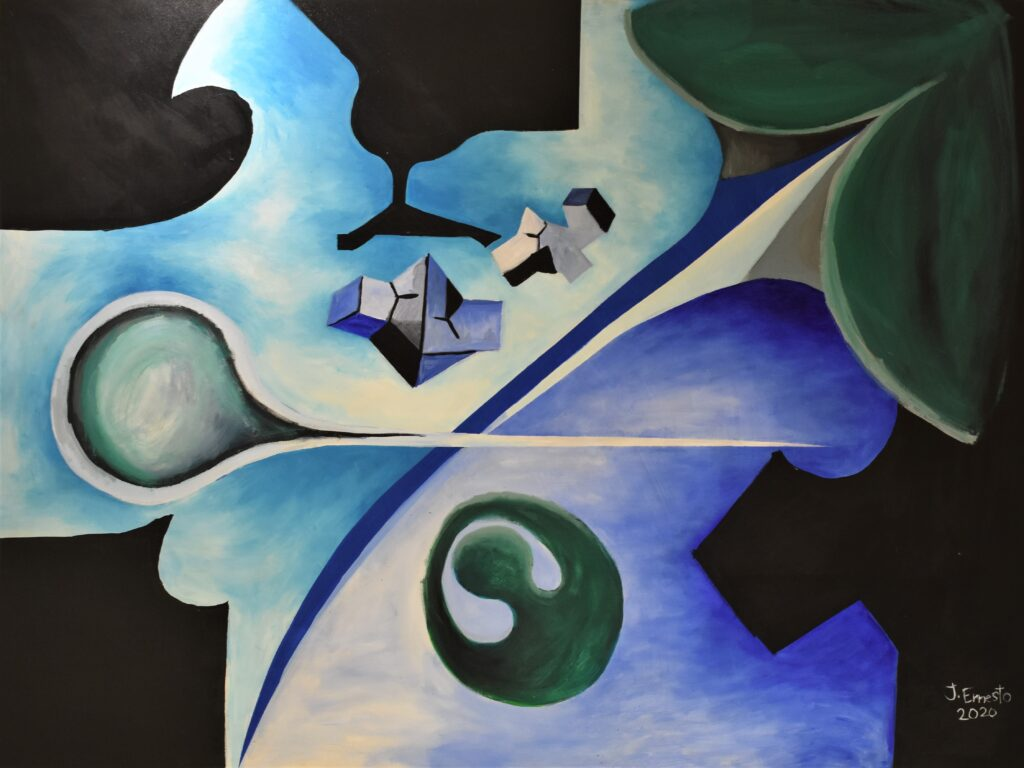 Título: Reino de los tritones Técnica: Acrílico sobre lienzo  Dimensiones: 160 x 120 cm  Precio: 700.00 $ Fecha: 2015/2020 Lugar: Panamá