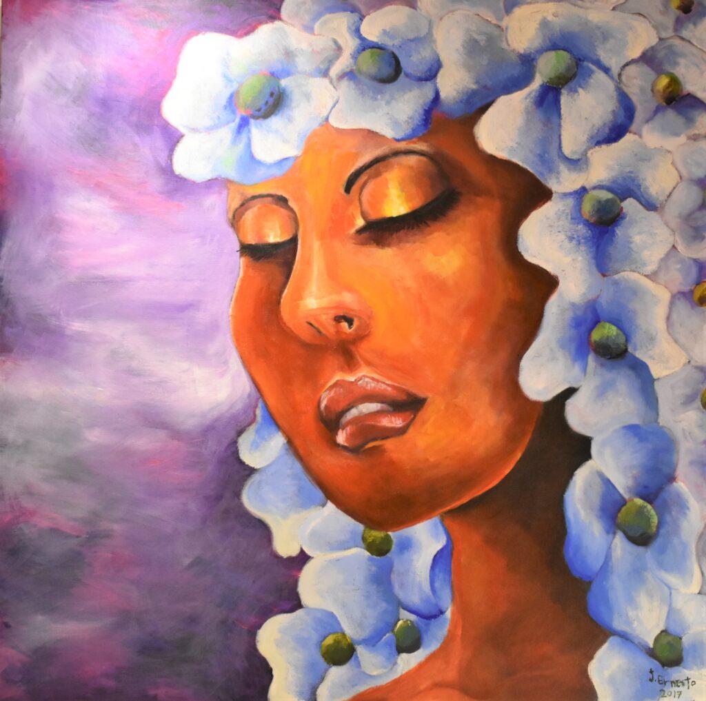 Título: Belleza de la mujer en su plenitud Técnica: Acrílico Dimensiones: 100 x 100 cm Precio: 420.00 $ Fecha: 2017