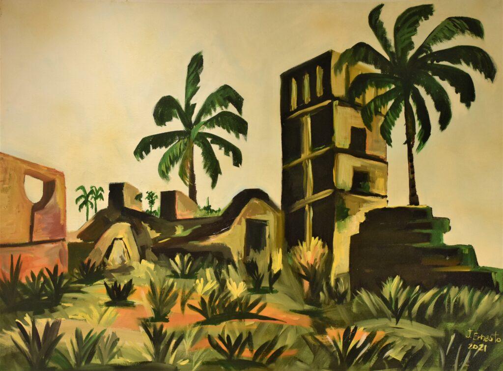 Título: Panamá Viejo, a mi estilo. Técnica: Acrílico sobre lienzo Dimensiones: 101 x 76 cm  Precio: 420.00 $ Fecha: 2021