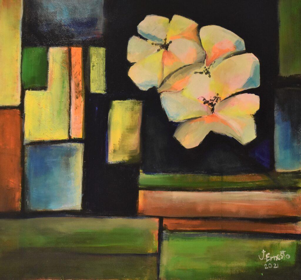 Título: Flores urbanas Técnica: Acrílico Dimensiones: 76 x 61 cm Fecha: 2021 Precio: B/. 235.00        Lugar: Panamá Instagram: @galeriaj.ernesto_shop