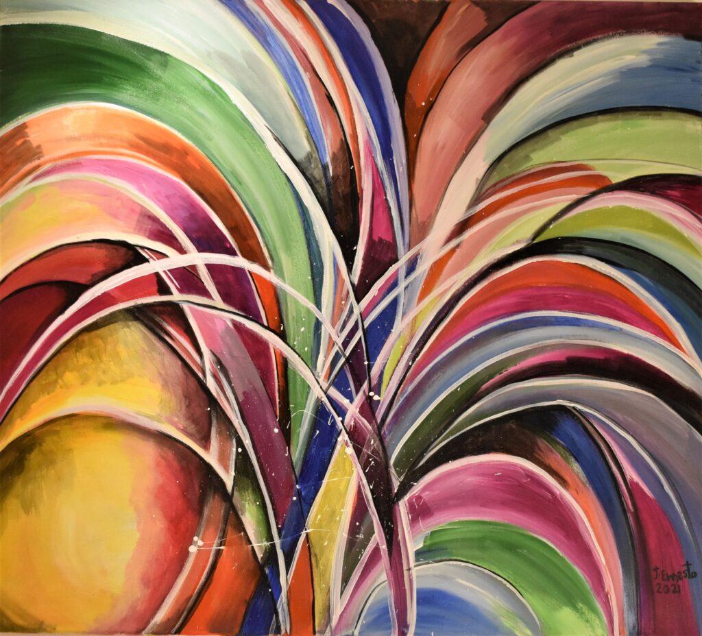 Título: Fiesta de colores Técnica: Acrílico Dimensiones: 100 x 70 cm Fecha: 2021 Precio: B/. 400.00        Lugar: Panamá
