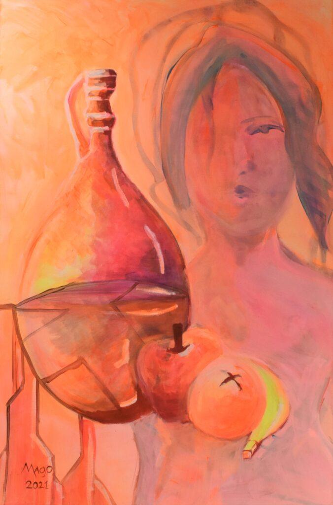 Título: Banquete del paraíso Técnica: Acrílico sobre lienzo Dimensiones: 61 x 91 cm Precio: 276.00 $ VENDIDO Lugar: Panamá