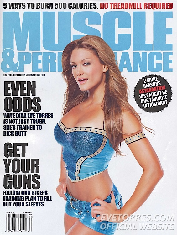 Eve on cover of July issue of Muscle & Performance