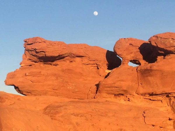 Red Rocks with Moon high in sky