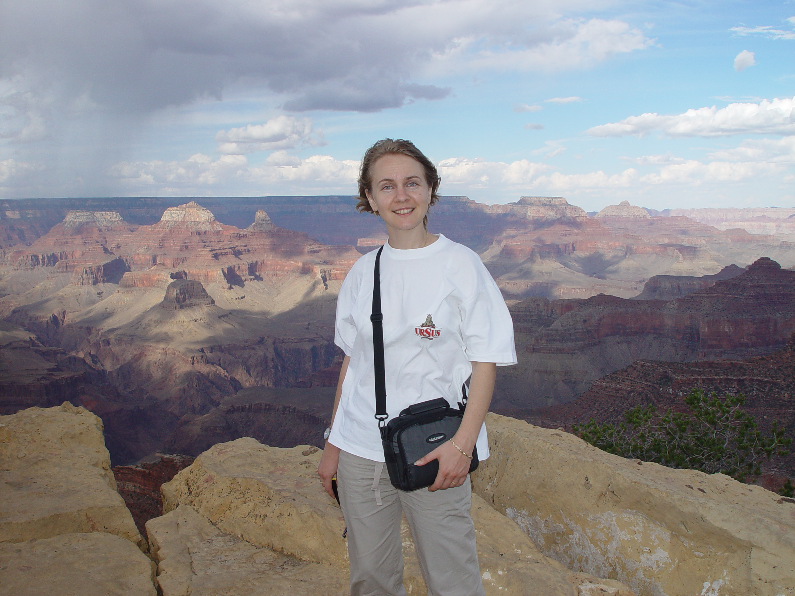 Oana visiting the Grand Canyon in July, 2002 shortly after arriving in the U.S.