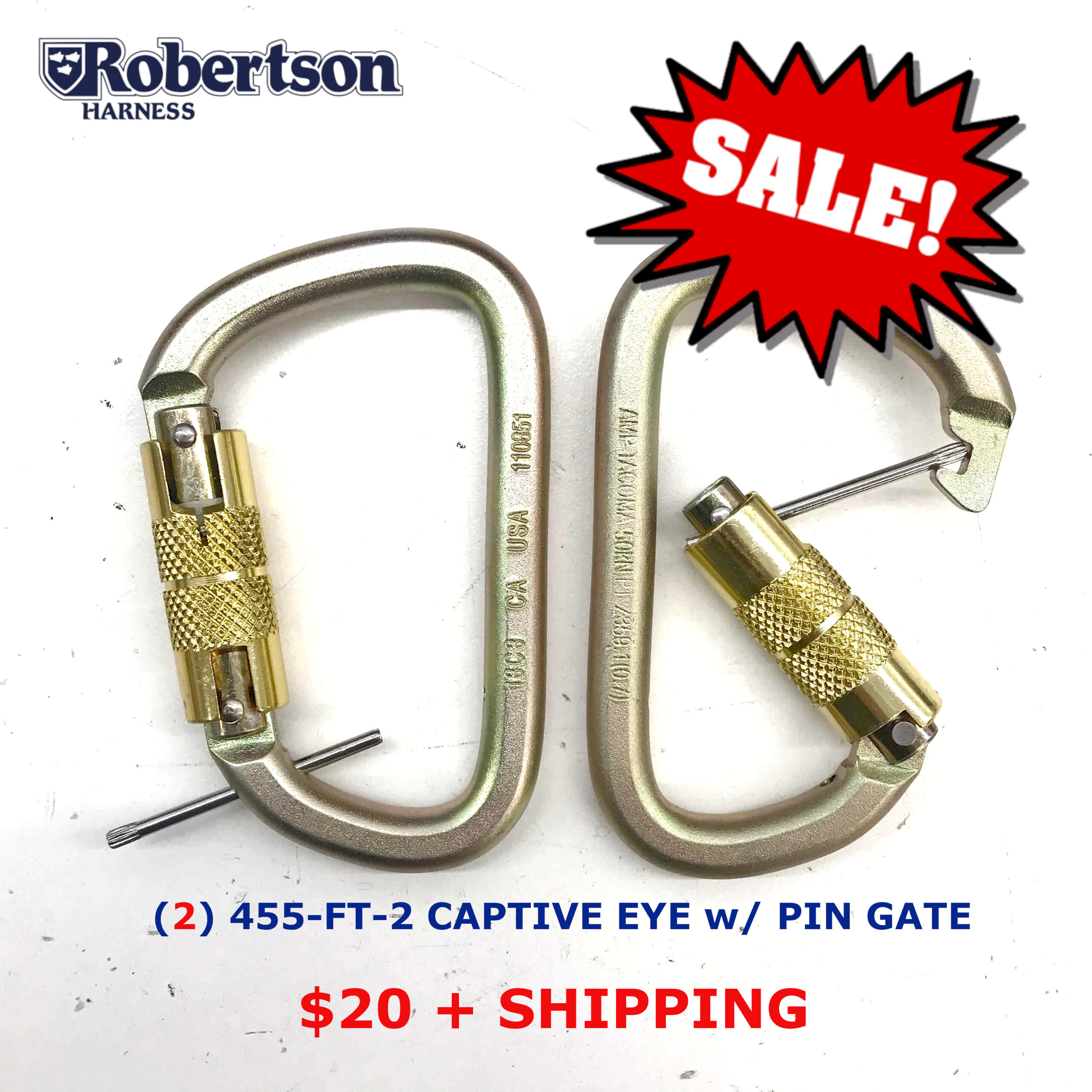 SALE! (2) 455-FT-2C Pin Gate w/ Captive Eye (2 Stage / Pin Gate / Captive Eye)