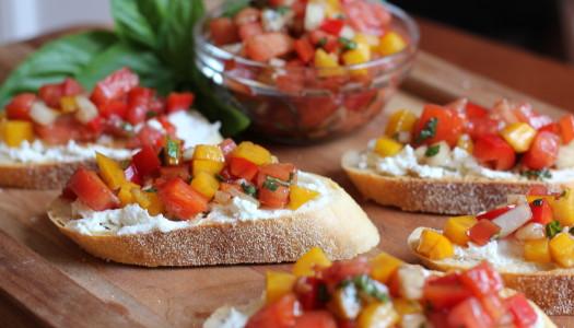 Tomato, Red Onion and Basil Bruschetta