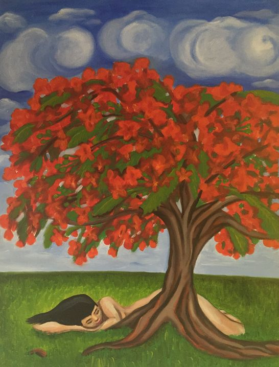 """""""Soñando en Flamboyán Puertorriqueño"""" 2015, 18x24"""", oil on canvas. This painting is a part of my Puerto Rican series. While traveling in Puerto Rico, the Flamboyan tree's bright red pop can be seen throughout the otherwise green landscape. The Flamboyan is a typical symbol of the island. I created this painting about a girl taking a nap, curled close to a majestic Flamboyan, not just sleeping, but dreaming within it, as it blooms beautiful and bright with her imagination."""