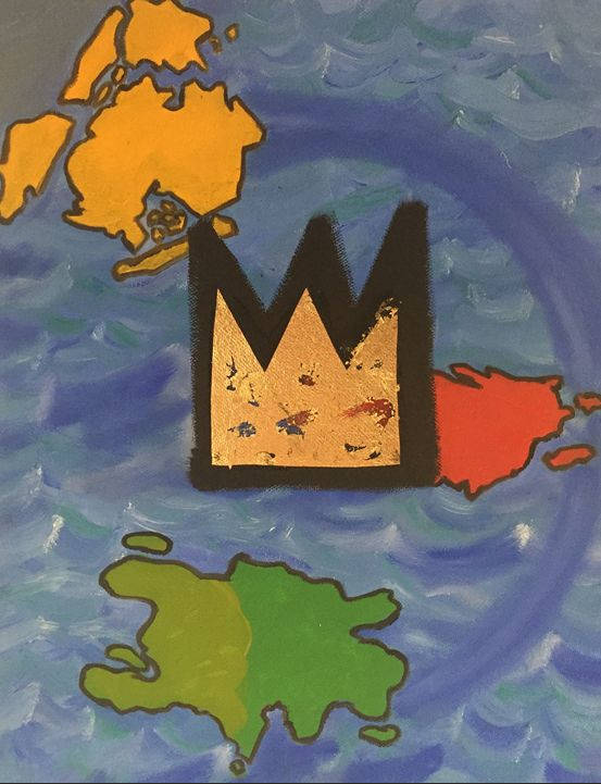 """""""Basquiat's Crown and His Islands"""" 2015, 11x14"""" oil and gold leaf on canvas. This painting is a part of my Puerto Rico series. While traveling in Puerto Rico, I noticed a lot of the street artists had incorporated Basquiat's crown in to their pieces. I am a huge fan of Basquiat and it got me to thinking about how he still captures the imagination of so many people, how many feel strong affinities towards him, and how often his crown appears in all sorts of art. Being a self-taught artist, a native-New Yorker with parents of Puerto Rican and Haitian descent - I wanted to represent his multi-ethnic background by showing those islands - and his ubiquitous gold crown dominating the foreground."""