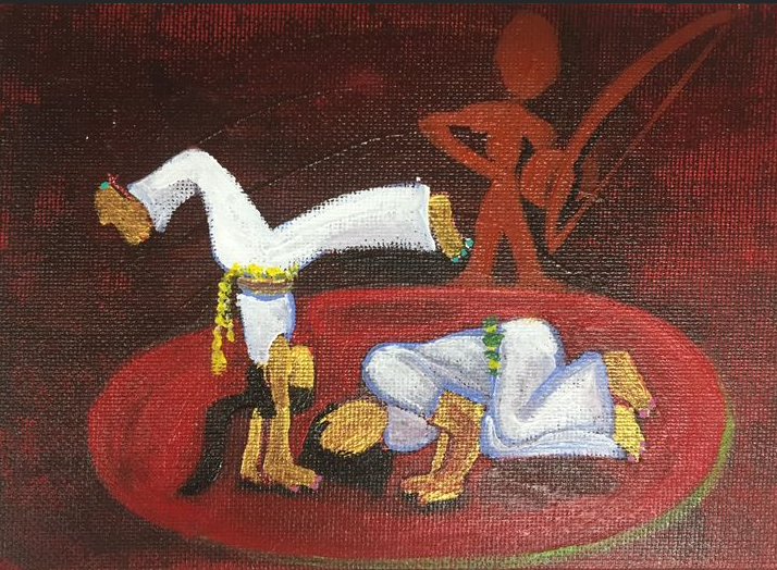"""""""Sardinha e Milagre"""" 2015, acrylic on canvasboard, 4x5"""". This painting depicts two people playing capoeira (a Brazilian martial art). They're female capoeiristas (capoeira players) wearing uniforms, doing typical moves in the roda (circle). There's a spirit in the background planing birimbau (instrument used in capoeira). Sardina and Milagre are their apelidos (nicknames)."""