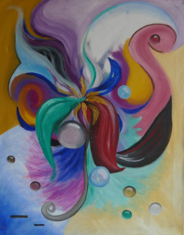 """""""Heart Center"""" This painting is about a burst of feeling in my heart center (Anahata chakra), as I saw it in my mind's eye."""