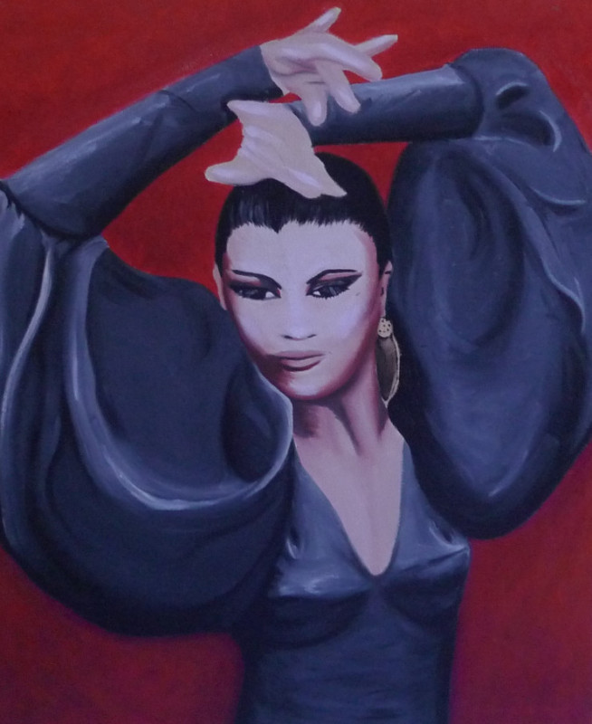 """""""Flamenco,""""18 x 24"""", oil on canvas, 2008.<br /> I found a beautiful photograph of the famous flamenco dancer, La Tania, and I was inspired to try and capture her majesty in a painting."""