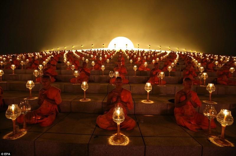 full moon - monks