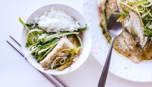 Steamed Fish with Scallions, Ginger and Soy Sauce