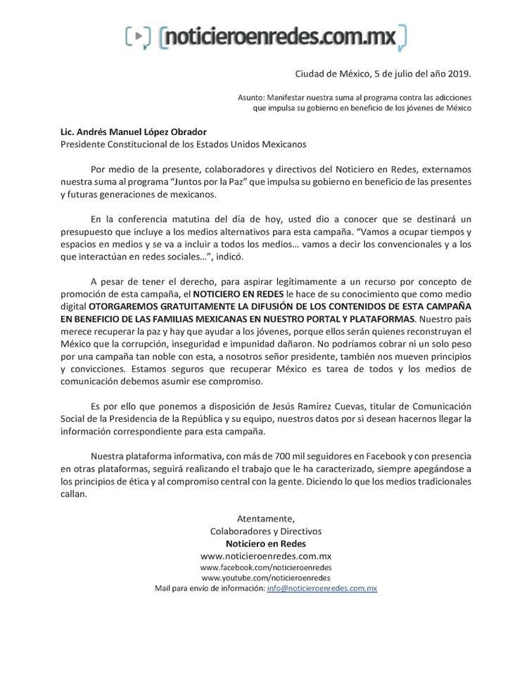Carta al Presidente López Obrador