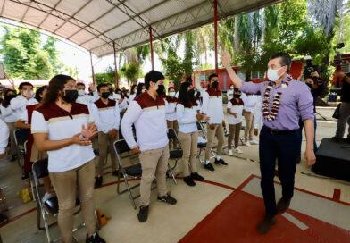 En Ángel Albino Corzo, Rutilio Escandón inaugura infraestructura educativa del Cecyte plantel 02