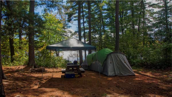 waterfront serviced site with green tent under shade of trees