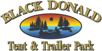 black donald tent and trailer park logo