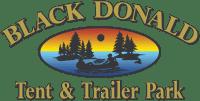 black donald tent and trailer park logo