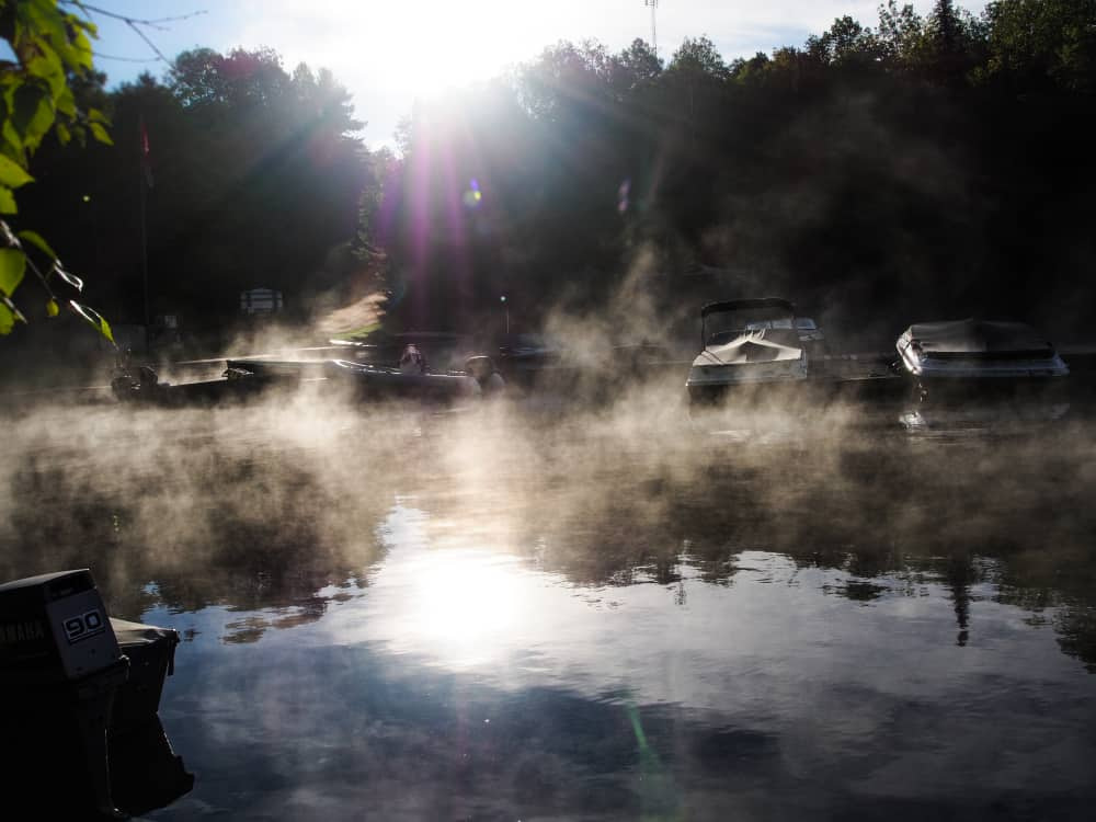 mist rolling off the lake at sunrise