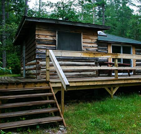 fishing cabin on norcan lake showing deck and staircase