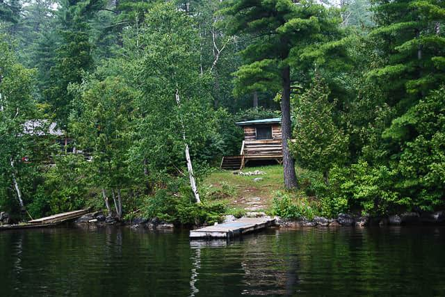 Norcan lake cabin and dock shown from the lake