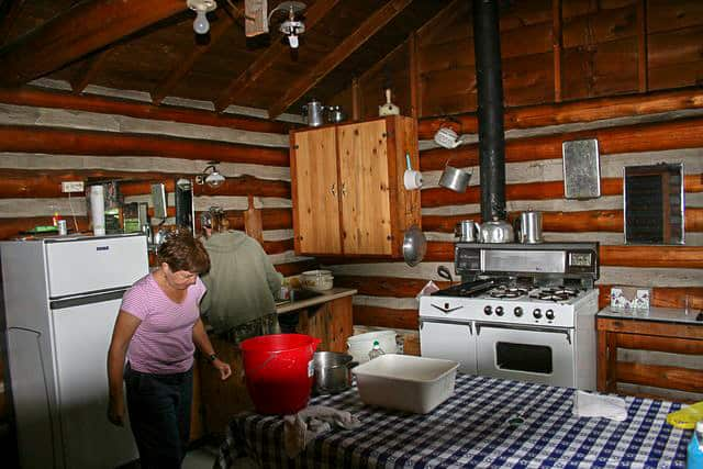 Cooking in the kitchen of one of the Norcan Lake cabins
