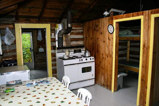 Interior view of cabin on Norcan Lake showing the kitchen